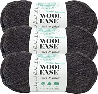 (3 Pack) Lion Brand Yarn 641-149 Wool-Ease Thick and Quick Bonus Bundle Yarn, Charcoal