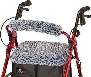 "NOVA Rollator Walker Seat & Back Cover, Removable and Washable, Faux Fur ""Snow Leopard"" Design"