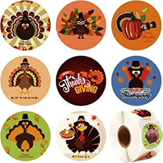 Elcoho 600 Pieces Funny Thanksgiving Stickers Assortment Turkey Design Roll Stickers for Party Favors Supplies