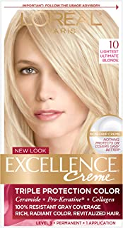 L'OrÃal Paris Excellence CrÃme Permanent Hair Color, 10 Lightest Ultimate Blonde, 1 Count 100% Gray Coverage Hair Dye