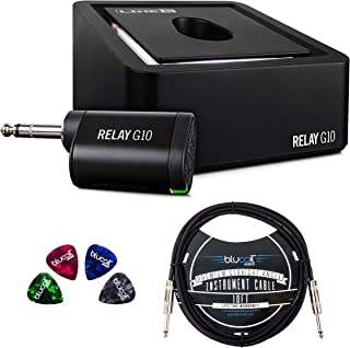 Line 6 Relay G10 Guitar Wireless System Bundle with 5V 1A USB Power Supply, USB-A to Micro-USB Cable, Blucoil 10-FT Mono Instrument Cable, and 4-Pack of Celluloid Guitar Picks