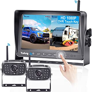 Yakry Y28 HD 1080P 2 Wireless RV Backup Camera for RVs,Trailers,Trucks,Motorhomes,5th Wheels 7'' Touch Key Monitor with Recording DVR Highway Monitoring System Super Night Vision Easy Installation