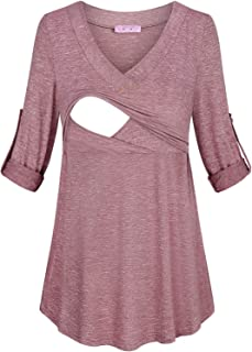 JOYMOM Womens Fashion V Neck Rolled Up Sleeve Nursing Tops Breastfeeding Shirts