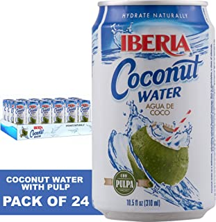 Iberia Coconut Water with Pulp (Pack of 24) 10.5oz Natural Coconut Water with Pulp, Fat-Free, Low-Calorie Drink With Pure Coconut Pulp, Ultimate Hydration Naturally Refreshing Sweet Nutty Flavor