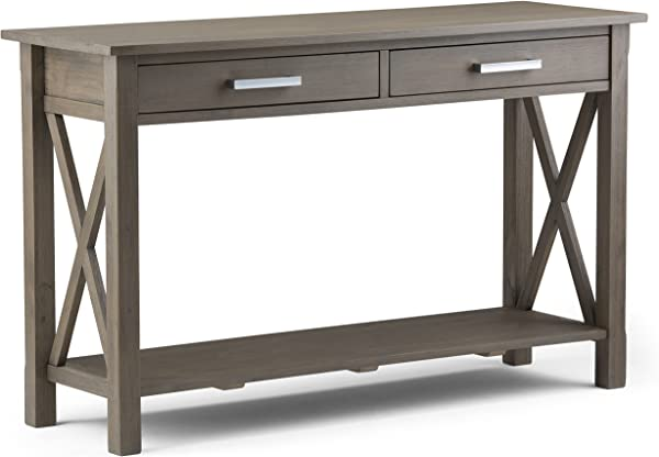 Simpli Home 3AXCRGL003 FG Kitchener Solid Wood 47 Inch Wide Contemporary Console Sofa Table In Farmhouse Grey