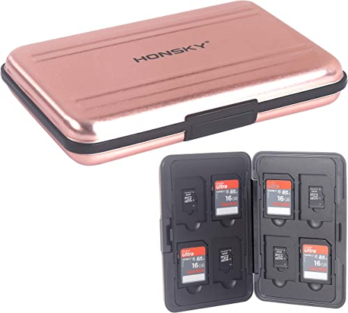 Honsky Aluminum SD Micro SD Memory Card Case Pink Rose Gold