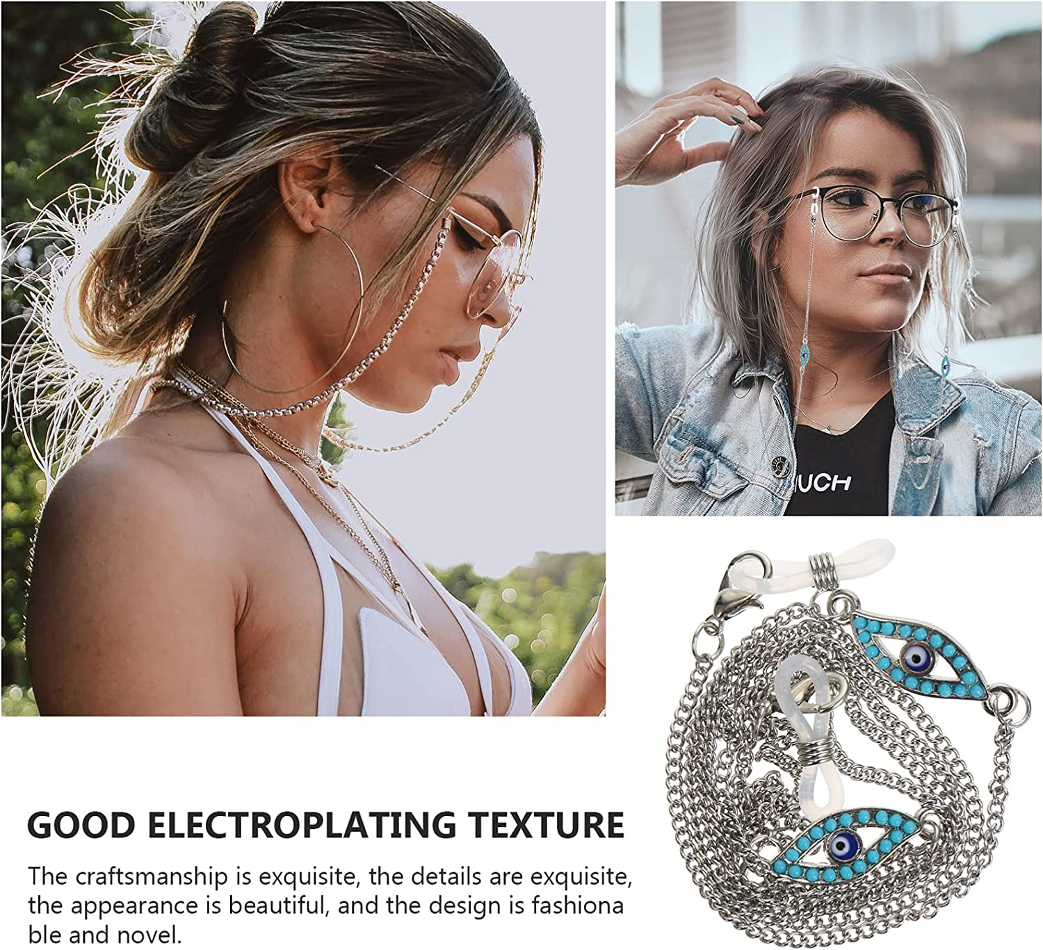 EXCEART Eyeglass Lanyard Chain Sunglass Holder Strap Eyeglass Necklace Chain Cord Face Cover Lanyard Anti- Lost Face Bandanas Chain for Glasses Face Cover