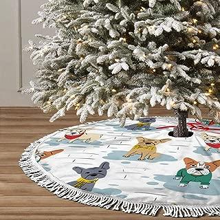 KDURNAIS Cartoon Character French Bulldog Fringed Christmas Tree Skirt Classic Holiday Decorations 30 36 48 Inc,Small Christmas Tree Skirt Blue Gold Red for Party Holiday Decorations Xmas Ornaments