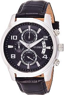 ساعة كوارتز بعرض كرونوغراف وسوار من الجلد للرجال من جيس، W0076G1
