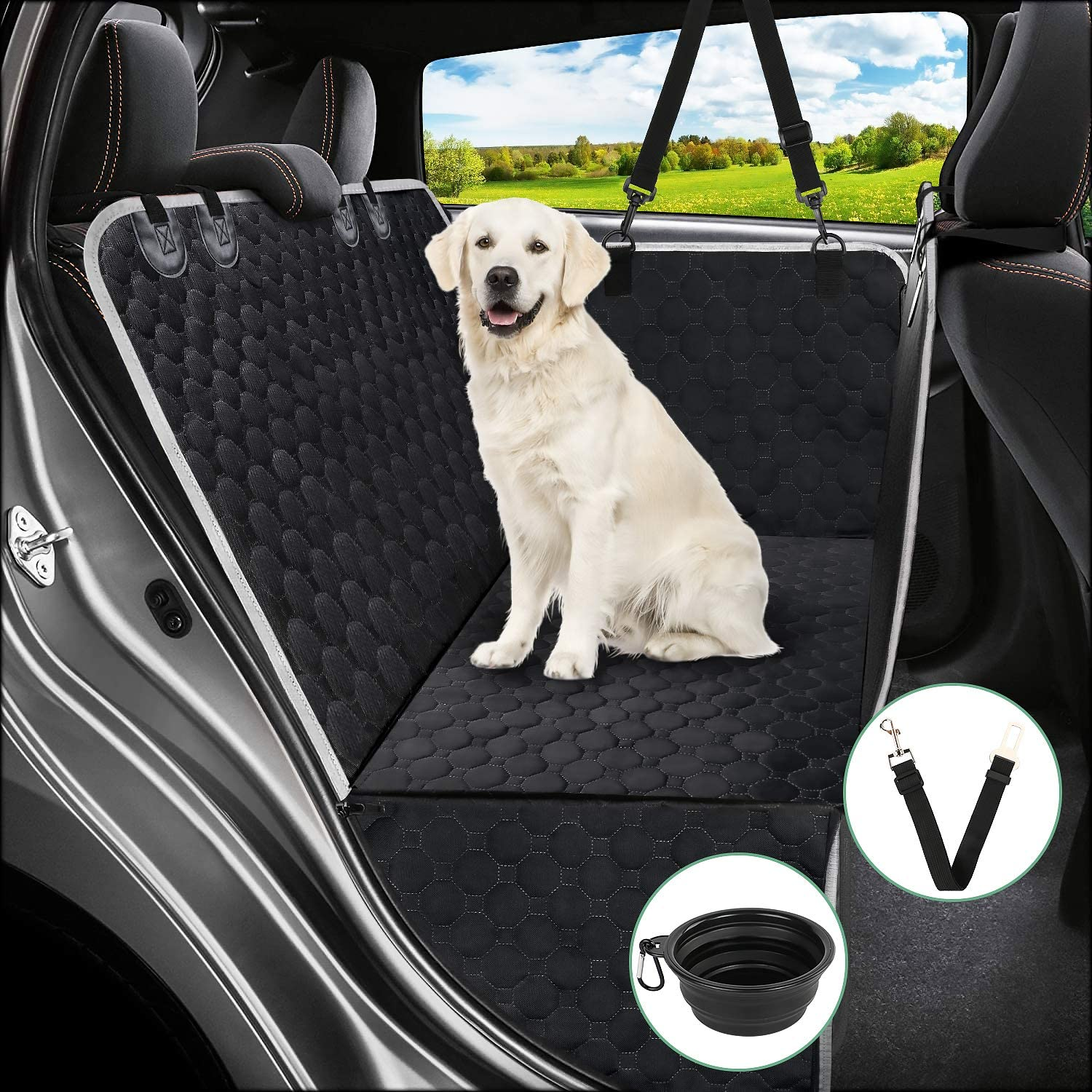Mancro Dog Seat Covers for Cars, Dog Car Seat Cover for Back Seat with Side Flaps, Convertible Scratch Proof Pet Seat Cover Hammock, Durable Soft Seat Protector for Cars Trucks SUVs