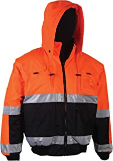 Brite Safety Style 5025 Hi Vis Hoodie Bomber Jacket | Reversible Safety Jackets For Men or Women | Waterproof, Breathable : 2-Tone | ANSI Class 3 Compliant (XL, Hi Vis Orange)