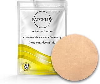 Patchlux - Parches adhesivos impermeables para protección de sensor CGM | Compatible con Freestyle Libre, Medtronic Guardian, Enlite | Color Beige | Sin agujeros | 20 piezas CGM tiritas