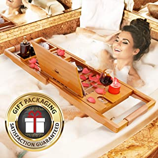 YM Lux Craft Bamboo Bathtub Caddy [Durable, Non-Slip], 1-2 Adults Expandable Bath Tray, Beautiful Gift Box, Fits Any Tub - Holds Book, Wine, Phone, Ipad, Laptop, Etc - Free Bathroom Door Hanger