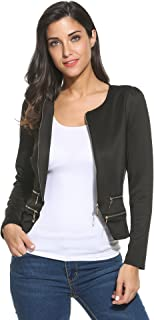 Women's Casual Zipper Cardigan Blazer O Neck Slim Fitted Office Jacket