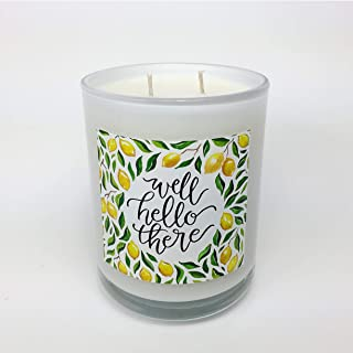 Banter & Bliss Well Hello There Double Wicked 16 oz. Lemon Verbena Scented Coconut Wax Blend Candle