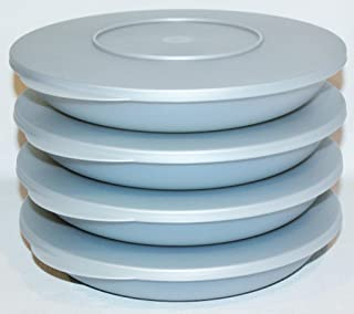 Tupperware Set of 4 Impressions Pasta Serving Double Plates Bowls 34 Ounce Silver