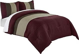 Chezmoi Collection Harper 3-Piece Luxury Striped Comforter Set (Queen, Burgundy/Brown/Coffee)