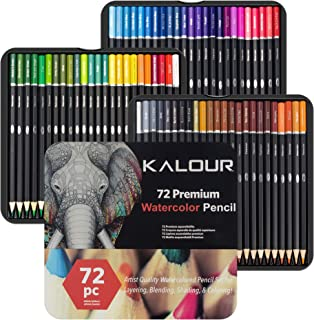 Kalour 72 Watercolor Pencil Set for Adults Coloring Book - Water Soluble Professional Hexagonal Pencil - Ideal for Colorin...