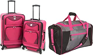 Protege Expandable Spinner Luggage Set, 2-Piece, Pink Bundle with Protege 32