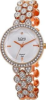 Designer Women's Watch – Swarovski Crystal Studded Case and Strap with Diamond Marker – Stainless Steel Bracelet - BUR232