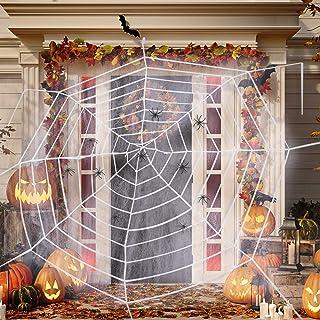 ديكورات شبكة عنكبوتية للهالووين، 11.8 شبكة عنكبوت كثيفة عملاقة مع 40 جرام مجموعة من 40 قطعة من العنكبوبات البلاستيكية الصغ...