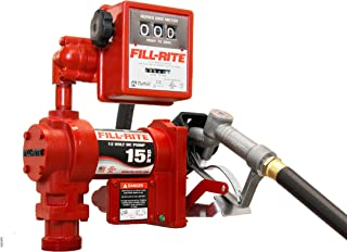 Fill-Rite FR1211GL 12V 57 LPM Fuel Transfer Pump with Discharge Hose, Manual Nozzle, Suction Pipe, Mechanical Liter Meter