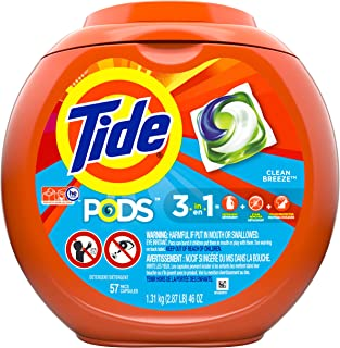 Tide PODS, Laundry Detergent Liquid Pacs, Clean Breeze, 57 Count - Packaging May Vary