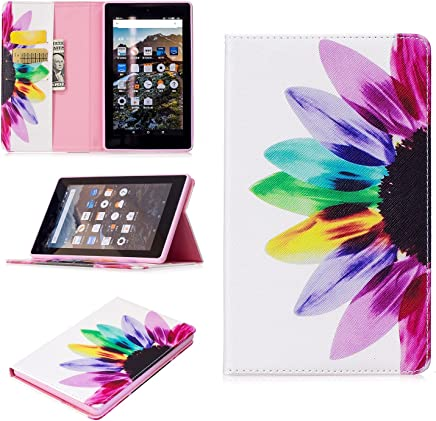 Kindle Fire 7 2017 Case, Art Color Painting Design PU Leather Flip Folio Wallet Cover Case for Amazon Kindle Fire 7 2017 Tablet with Card Slot Kickstand ( Color : Rainbow flower )