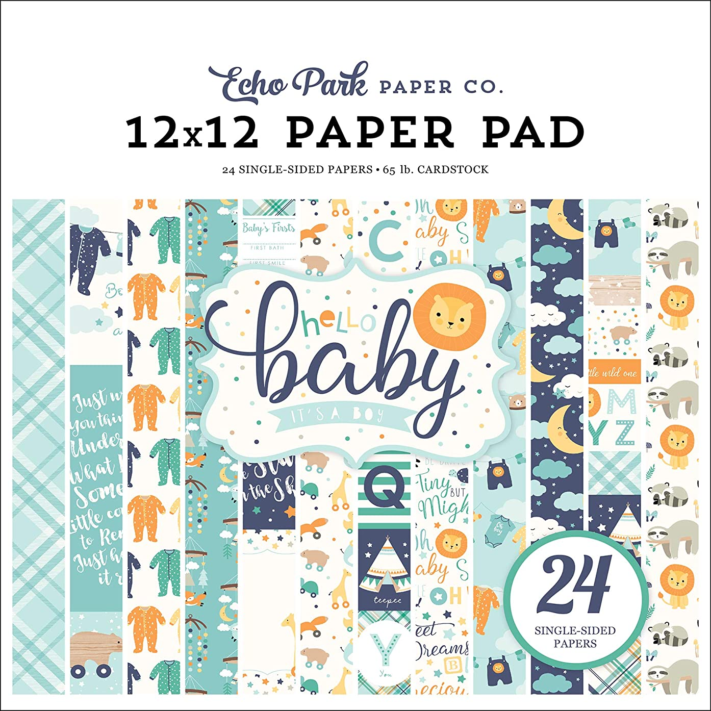Echo Park Paper Company Hello Baby Boy 12x12 Pad Paper Navy, Yellow, Teal, Orange
