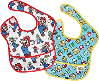 Bumkins Nintendo Super Mario SuperBib, Baby Bib, Waterproof, Washable, Stain and Odor..