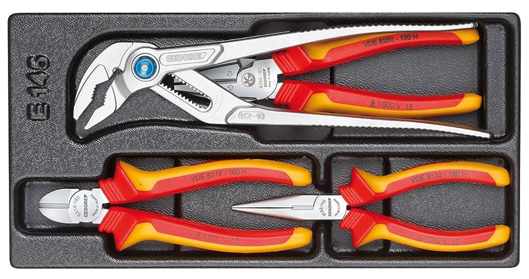Gedore 1500 ES-VDE 145 VDE pliers set in 1/3 ES tool module