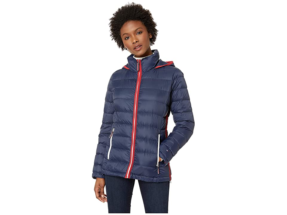 Tommy Hilfiger Packable Down Hooded Zip Front Jacket (Navy) Women