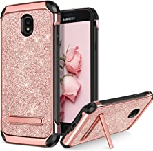 BENTOBEN Case for Galaxy J7 2018/J7 Aero/J7 Refine/J7 Star/J7 V J7V 2nd Gen, 2 in 1 Kickstand Shockproof Protective Glitter Shiny Girl Women Full Body Soft Bumper Phone Cover for Samsung J7, Rose Gold