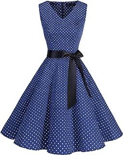 Women's V-Neck Audrey Hepburn 50s Vintage Elegant Floral Rockabilly Swing Cocktail Party Dress