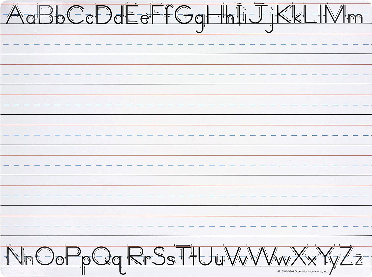 """Amazon.com : Manuscript Writing Dry Erase Board - Preschool, Kindergarten,  First and Second Grade - Learn To Write, Practice, Alphabet 12"""" x 9"""" :  Office Products"""