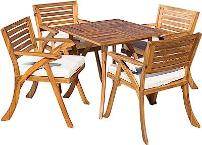 Christopher Knight Home Hermosa Acacia Wood Dining Set, 5-Pcs Set, Teak Finish