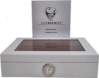 GERMANUS Cigar Humidor för ca 30 cigarrer, vit, med hygrometer och luftfuktare manuell