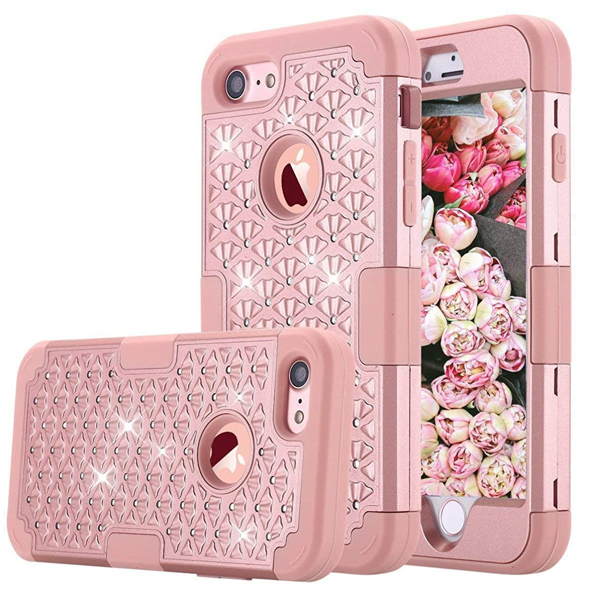 iPhone 7 Case, iPhone 8 Case, KAMII [Diamond Series] 3 in 1 Hard PC+Silicone Hybrid Shock Absorption/High Impact Full Body Protection Defender Case Cover for Apple iPhone 7/iPhone 8 (Rose Gold)