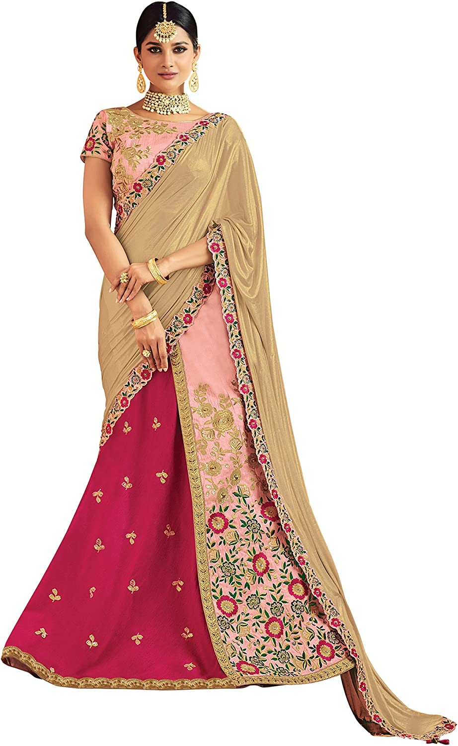 DesiButik's Wedding Wear Elegant Pink Raw Silk Lehenga Choli with Dupatta