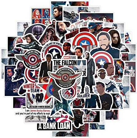 50Pcs Cool Movie Stickers for Kids Teen, Waterproof Decal for Travel Case Water Bottle Laptop Skateboard Computer Phone Bike Luggage Guitar(The Falcon and The Winter Soldier)