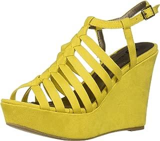 Women's Racer Wedge Sandal, Yellow, 9 M US
