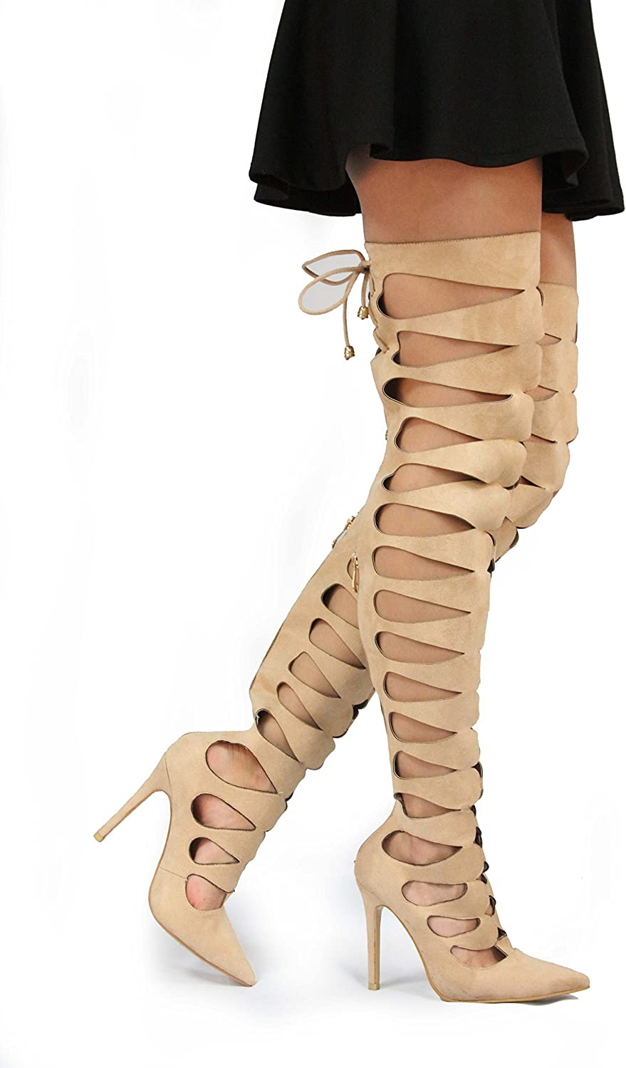 Static Fashion Womens Over The Knee Strappy Cut Out High Heel Gladiator Sandals