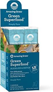 Amazing Grass Green Superfood Alkalize & Detox: Cleanse with Super Greens Powder, Digestive Enzymes & Probiotics, 15 Servings