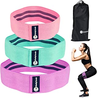 Cheeky Bands Resistance Booty Band Set, 3 Non-Slip Fabric Loop Resistance Bands, Elastic Slingshot Material Exercise Bands Perfect for Gym Workouts, Fitness Hip Circle Bands with Carry Bag and Guide