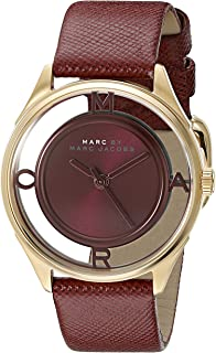Marc by Marc Jacobs MBM1377 Round Embossed Leather Analog Watch for Women - Maroon