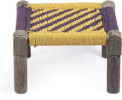 Ikiriya Hand Caning with Purple & Yellow Cotton Rope Acacia Wood Foot Stools- 17x17x11 Inch