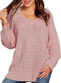 Viottiset Womens V Neck Oversized Long Sleeve Pullover Knit