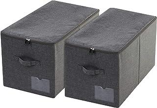 iwill CREATE PRO Lot de 2 paniers de rangement pliables pour vêtements avec couvercle anti-poussière Noir/gris