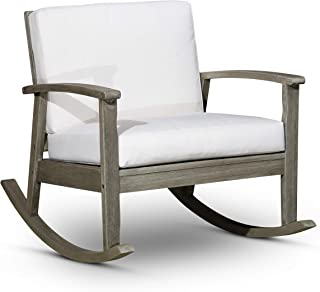 DTY Outdoor Living Longs Peak Deep Seat Eucalyptus Rocker - Driftwood Gray Finish, Cream Cushions