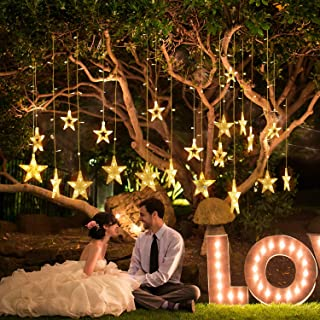 Star Curtain Lights 8 Modes 138 LEDs Fairy String Light with Remote Control and 12 Hooks for Christmas, Wedding, Party, Festivals, Home, Garden, Bedroom, Outdoor Indoor, Wall Decorations(Warm White)